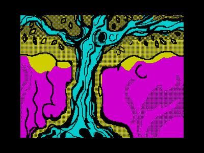 [Screenshot - Собака и бобер смотрят на белку на старом дереве]